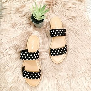 Black & White Polka Dot Flat Sandals